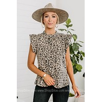 Wish You The Best Cheetah Print Butterfly Sleeve Top
