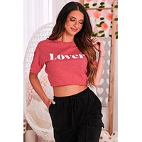 """""""Lover"""" Graphic T-Shirt (Heather Red) - Print On Demand"""