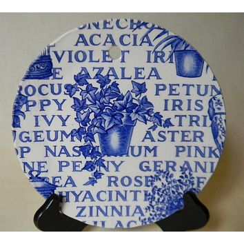 Blue & White China Garden Plaque English Ironstone Blue Transferware Plate - Plaque Victorian Garden Decor - Flower pot of ivy and flowers
