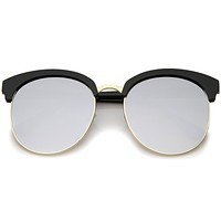Women's Oversize Round Half Frame Flash Lens Sunglasses A388