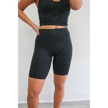 Born To Fly Biker Shorts - Charcoal