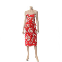 Vintage 50s Alfred Shaheen Sarong Dress 1950s Red and White Floral Hawaiian Strapless Pinup Bombshell Wiggle Dress / XS to Small