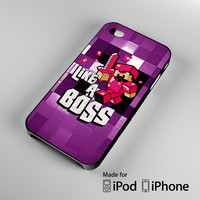 Red Purple Minecraft Creeper Like a Bos A0065 iPhone 4S 5S 5C 6 6Plus, iPod 4 5, LG G2 G3, Sony Z2 Case