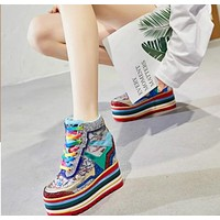 Women Fashion Rainbow Platform Lace-Up Sneakers