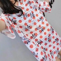 """Adidas"" Women Casual Personality Polka Dots Letter Print Short Sleeve T-shirt Mini Dress"