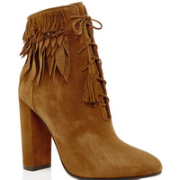 Woodstock Suede Fringed Ankle Boots
