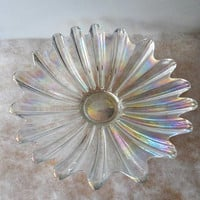 1960's IRIDESCENT CARNIVAL Scalloped Glass Dish/Heavy Iridescent Carnival Glass Serving Dish/Fruit Dish/Candy Dish/Vintage Shallow Bowl/Dish