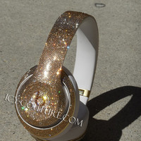Sparkling GOLD BLING Beats by Dre with Swarovski Crystals