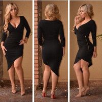 Black Asymmetric Bodycon Dress