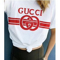 Gucci Women Men Print White Red Contrast Print Tee Shirt Top White