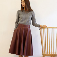 High Waist Woman PU Leather Skirt 2015 New Fashion Woman Spring Vintage Large Swing Long Midi Skirts Black Red QT128