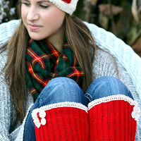 Red and White - Heart Headband, White headband, Cozy, Red Leg warmers. White lace. Big Heart, Christmas Gift.