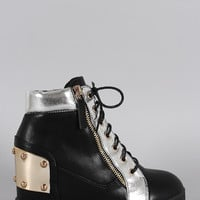 Studded High Top Lace Up Wedge Sneaker