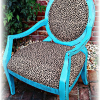Leopard accent chair, leopard chair, accent chair, turquoise chair, distressed chair, rustic chair, girls room, shabby chic chair, baby room