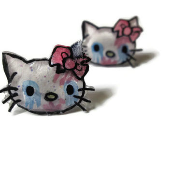 Zombie Hello Kitty Stud Earrings, Optional Glitter Coating, Hypoallergenic Surgical Steel Posts, Handmade, Made to Order