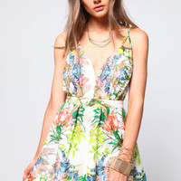 PLUNGE TROPICAL FLARE DRESS