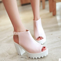 Women new fashion spring Summer soft open toe 9.5cm ultra high heels thick 4cm platform sandals high gladiator shoes
