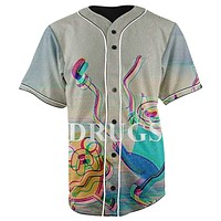 Drug Adventure Time Button Up Baseball Jersey