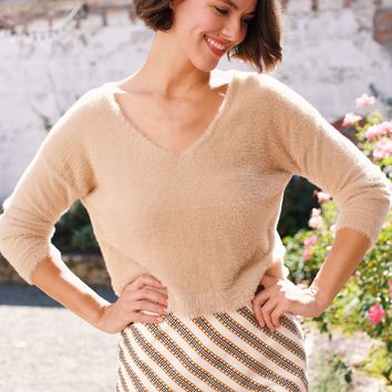 Carmen Cropped Sweater, Taupe