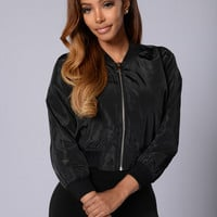 Word Up Bomber Jacket - Black