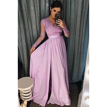 Prom Dress Long Sleeves, Graduation School Party Gown, Winter Formal Dress, DT0165