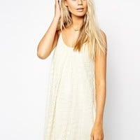 ASOS Swing Dress In Lace - Cream
