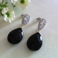 Dangle Earrings of Faceted Black Onyx and Cubic Zirconia Pear Ear Stud with Sterling Silver Ear Posts, Gemstone Earrings, Gift Ideas