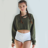 Green Cut Out Neck Long Sleeve Sweater