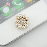 Bling Crystal Circle Pearl flower iPhone Home Button Sticker, phone charm accessary for iPhone 4/4s, iPhone 5, iPad, gift box