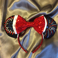 Sparkly Fourth of July Fireworks Mouse Ears Headband