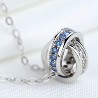 """""""Cartier""""S925 pure silver ornaments The new pendant high-grade sautoir Chain of clavicle double ring necklace"""