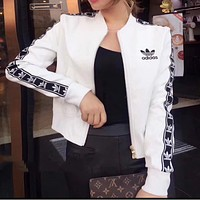 Adidas spring and autumn new long-sleeved Slim motorcycle leather jacket womens tide