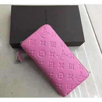 LOUIS VUITTON WOMEN MEN'S LEATHER WALLET PURSE WALLETS PINK I