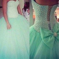 Mint Green Tulle Ball Gown Quinceanera Dress beadwork Crystal Party Prom Dresses
