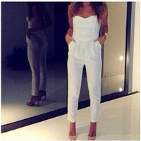 New  Women Overalls White Sexy V Strapless Playsuit Novelty Jumpsuits Summer Pencil Pants Leggings 9524 GS