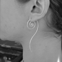 Unfurl Earrings in Eco Friendly Recycled Sterling Silver. Jewelry by FullSpiral on Etsy