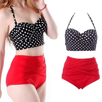 New Women RETRO Pinup Rockabilly Dot Vintage Sexy High Waist Bikinis Set Swimsuit Swimwear Push Up Bathing Suit Beachwear Bikini