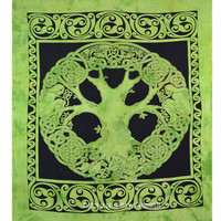 Green Celtic Tree of Life Tapestry Wall Hanging Bedspread Bedding on RoyalFurnish.com