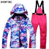 2018 New Womens Waterproof Winter snowboarding suit Thicken Thermal Outdoor Skiing Jacket Set Breathable Warm Snow Clothes h300