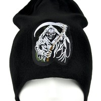 Grim Reaper with Scythe Death Beanie Metal Clothing Knit Cap