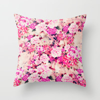 Elegant Pink Chic Floral Pattern Girly Peonies Throw Pillow by Girly Road