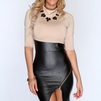 Beige Black Faux Leather Short Sleeves Bodycon Party Dress