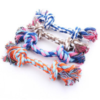 New hot sell Puppy Dog Pet Toy Cotton Braided Bone Rope Double knot cotton rope trumpet Chew Knot New