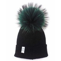 LUX FUR POM BEANIE BLACK WITH OLIVE FUR