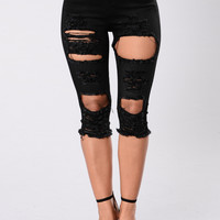 Kneeded Me Shorts - Faded Black