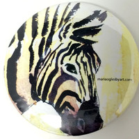 Beautiful Watercolor Zebra Pin On Collectable Button, Collectors Art Button Of Peaceful Zebra, Tranquil Feeling Zebra Artist Print Buttons