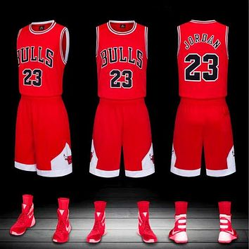 "NBA ""Bulls No. 23"" Jordan jersey vest embroidery basketball uniform set two-piece Red"