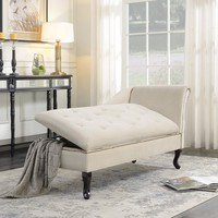 Belleze Nailhead Trim Velveteen Storage Chaise Lounge Chair Tufted Couch for Bedroom Living Room Fold Open Lid, Beige - Walmart.com