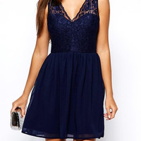 Blue Sleeveless V-Neck Lace Hem Dress
