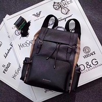BURBERRY MEN LEATHER AND CANVAS BACKPACK BAG